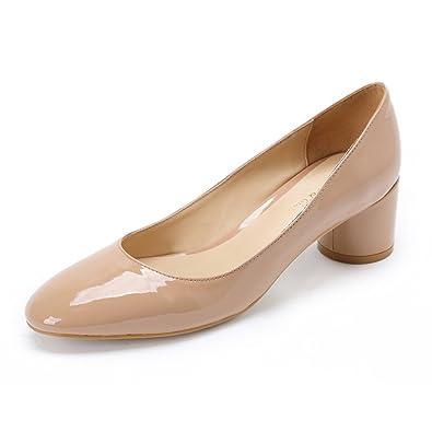 c1eb254ef7aef Damen Schuhe Pumps mit Blockabsatz Frauen Leder Elegant Formel Schwarz  Office Shoes Hohe Absatz Rund Slip On