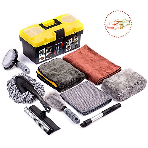 Tire Care Kit (Mofeez 9pcs Car Cleaning Tools Kit With Blow Box Car Vent Brush Tire Brush Wash Mitt Sponge Wax Applicator Microfiber Cloths Window Water Blade Brush)