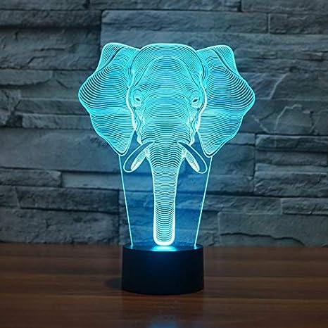 3D Ilusión óptica Lámpara LED Luz Elefante de noche Deco LED ...