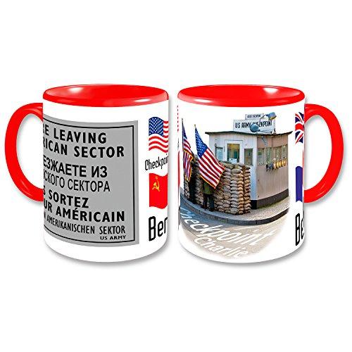 BERLIN Coffee Mug Germany Retro Coffee Cup Checkpoint Charlie US Army Allies Flags Souvenir 4x3 inch - Check Souvenir Cup
