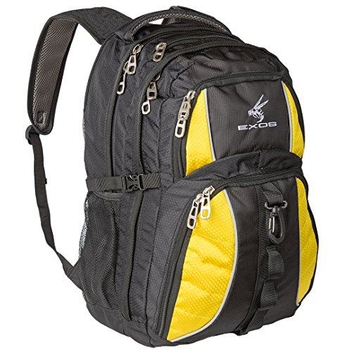 Backpack, (laptop, travel, school or business) Urban Commuter by EXOS (Black with Yellow Trim)