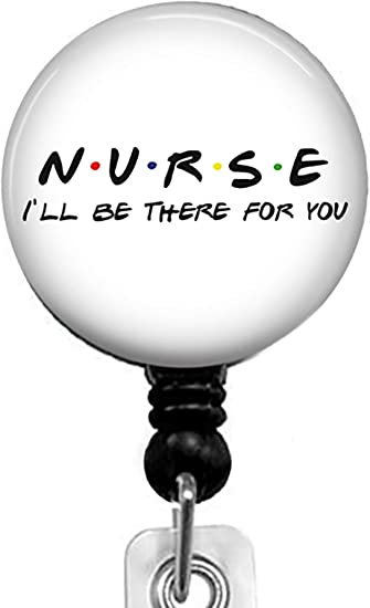 Nurse-Ill be There for You Retractable Badge Reel with Alligator Clip,Name Nurse ID Card Badge Holder Reel Decorative Custom Badge Holder