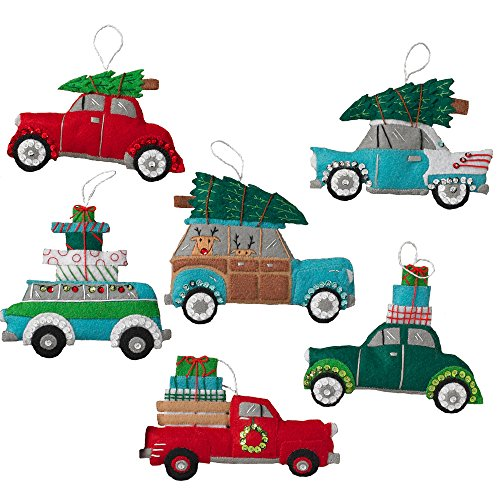 Bucilla Felt Applique Ornament Kit, 6 by 4 inch, 86836 Holiday Shopping Spree (Set of 6) by Bucilla