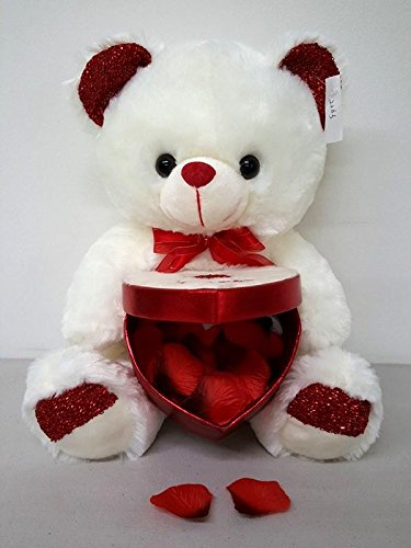 Box Big 15 Cute Ivory Valentines Super Soft Teddy Bear Plush Holding Heart Shape case Mothers day Mothers day JA Fashion Great for Chocolate or Gift Card Great for Valentine Day