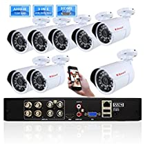 iSmart 8 Channel 720P HDMI P2P AHD DVR HVR NVR 3 in 1 Security System including 8 1200TVL 1.0MP Waterproof Bullet Surveillance Camera Remote Viewing