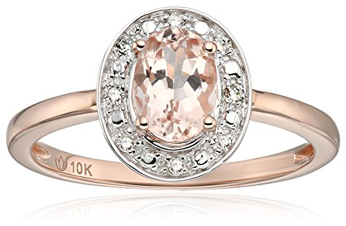 10k Rose Gold Morganite and Diamond Accented Classic Princess Di Halo Engagement Ring, Size 7 - Classic Diamond Engagement Rings