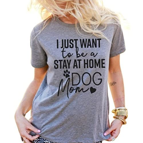 Hot DUTUT I Just Want To Be a Stay AT Home Dog Mom T-Shirt Women's Short Sleeve Casual Top Tees for cheap