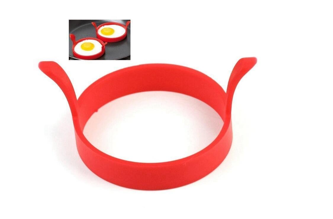 Gudhi 4 Pcs Silicone Kitchen Egg Fryer Ring Pancake Egg Poach Ring Mould