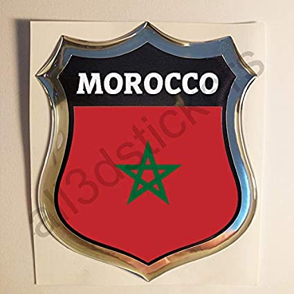 All3dstickers Pegatina Marruecos Relieve 3D Escudo Bandera ...