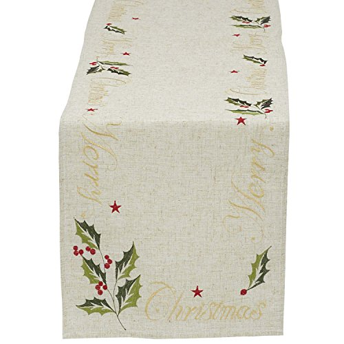 - DII Christmas Holiday Embroidered Table Runner, 14X70