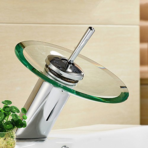Bathroom Sink waterfall faucet with 12'' Chrome Glass Round Disk,Single Handle Vanity Faucet Vessel Sink