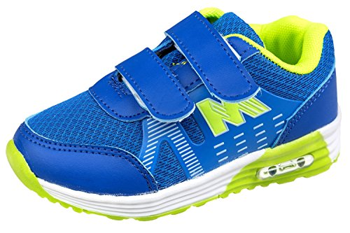 gibra - Zapatillas de Material Sintético para niña azul/verde fluorescente