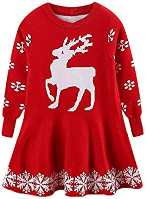 18739e952e9 Decha Little Girls Christmas Dress Reindeer Snowflake Xmas Gifts ...