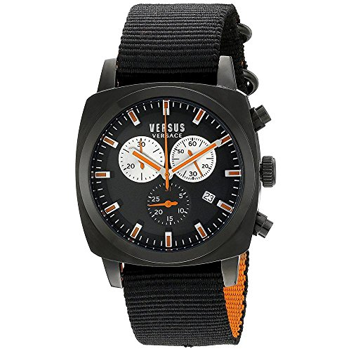 Versus by Versace Men's SOI020015 RIVERDALE Black Stainless Steel Watch with Canvas Strap