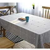 """NOMSOCR Cotton Linen Tablecloth Dust-Proof & Spillproof Table Cover for Kitchen Dinning Tabletop Linen Decor, Machine Washable (Grey, 55.1""""x70.8"""")"""
