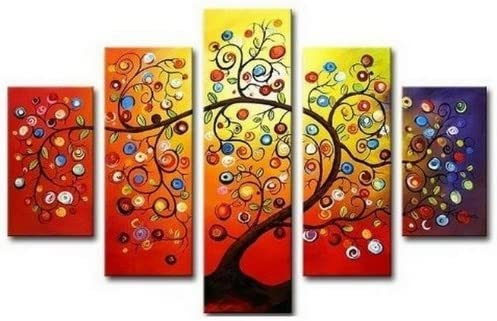 Crystal Emotion Hand Painted Oil Painting Gift Gold Tree 5 Panels Wood Inside Framed Hanging Wall Decoration As Shown, Color8