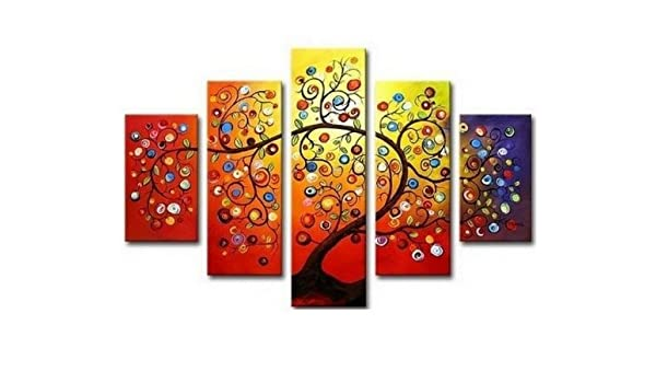 815d339328223 Amazon.com: 5 Piece Wall Art 100% Hand Painted Art Colorful Tree ...