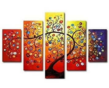 Superbe 5 Piece Wall Art 100% Hand Painted Art Colorful Tree Abstract Oil Painting  Group Painting