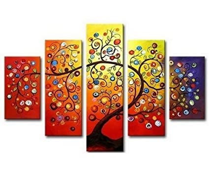 Hand Painted Oil Painting Gift Gold Tree 5 Panels Wood Inside Framed Hanging Wall Decoration As Shown Color8