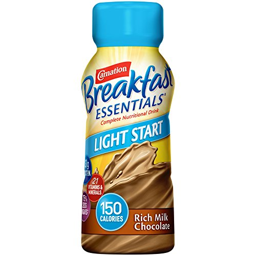 Carnation Breakfast Essentials Light Start Ready-to-Drink, Rich Milk Chocolate, 8 fl oz Bottle, 24 Pack Chocolate 8 Ounce Bottle