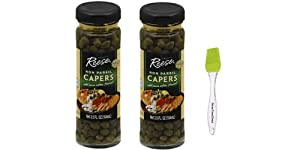 Reese Non Pareil Capers, 3.5 Oz (Pack of 2) Bundle with Silicone Basting Brush in a PTD Sealed Bag