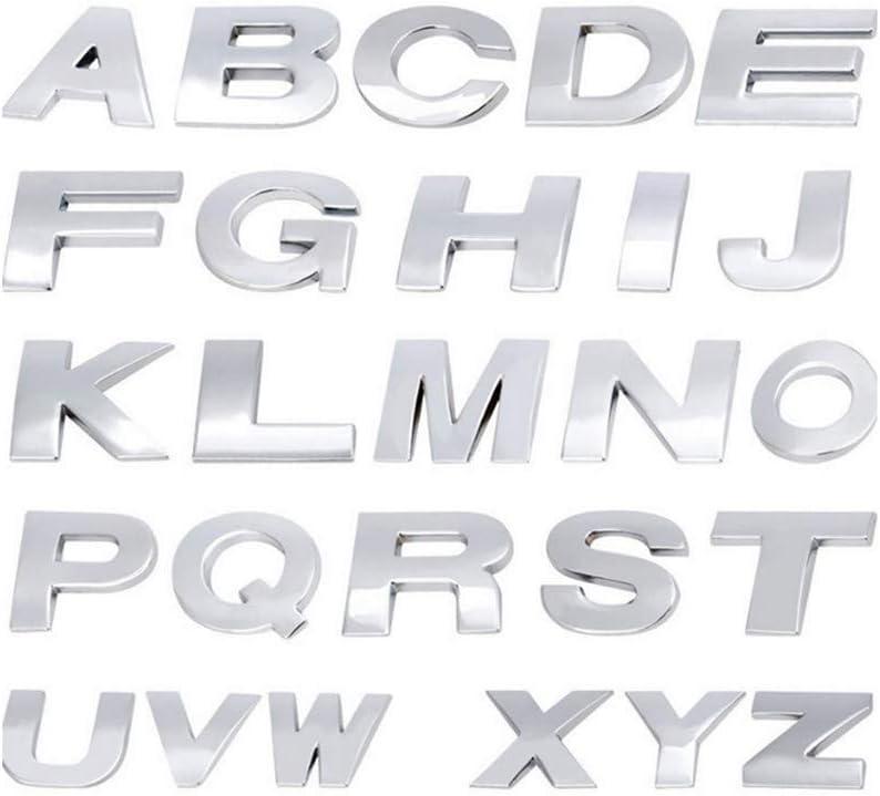 Fully 4.5CM//1.77 DIY Letters Alphabet Number Symbol Charm 3D Metal Car Auto Emblem Letter Badge Decal Black, F