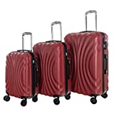 WhalePassing hardshell suitcase with TSA lock and super spinner, 3 piece luggage set (Red-Wave)