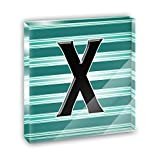 Letter X Initial Black Teal Stripes Acrylic Office Mini Desk Plaque Ornament Paperweight