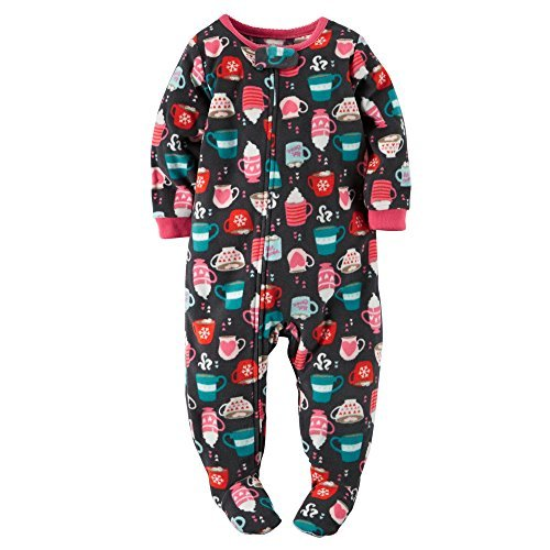 Carter's Baby Girls' Holiday Microfleece 1 Piece Footed Sleeper Pajamas (18 Months, Hot -