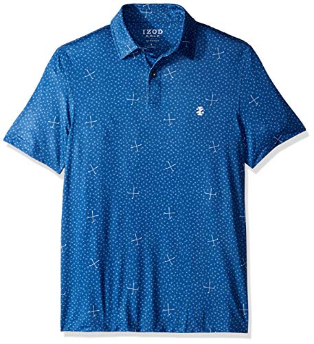 IZOD Men's Golf Fashion Short Sleeve Polo Shirt, True Blue Large