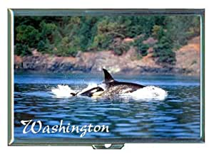 Killer Whale Washington State ID Holder, Cigarette Case or Wallet: MADE IN USA!