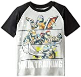 Teenage Mutant Ninja Turtles Big Boys' Short Sleeve Raglan T-Shirt Shirt, Heather/Black, Large/14/16