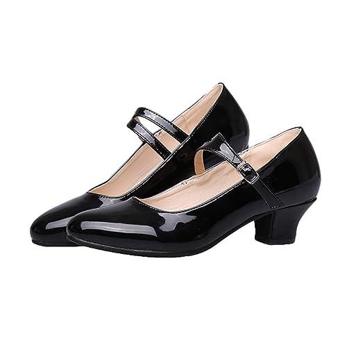 ce59e628 Mujer Tacón Bajo/Medio Zapatos de Baile, Niña Zapatillas de Baile de Tango  Salsa Samba Baile de Salón Performance Calzado de Danza Tacón 3.5CM/5.5CM:  ...