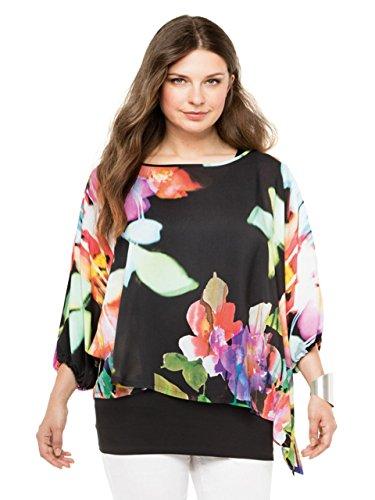 DORIS STREICH Damen Bluse MIT FLORALEM PRINT (46, Multicolor)