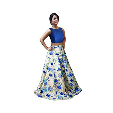 bce02a9362 Crop Top Lehenga (Blue): Amazon.in: Clothing & Accessories