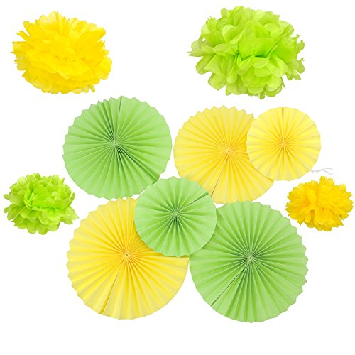Set of Green Yellow Paper Fans Rosettes Easter Hanging Ornament Children Party Decorative (Resin Rosette)
