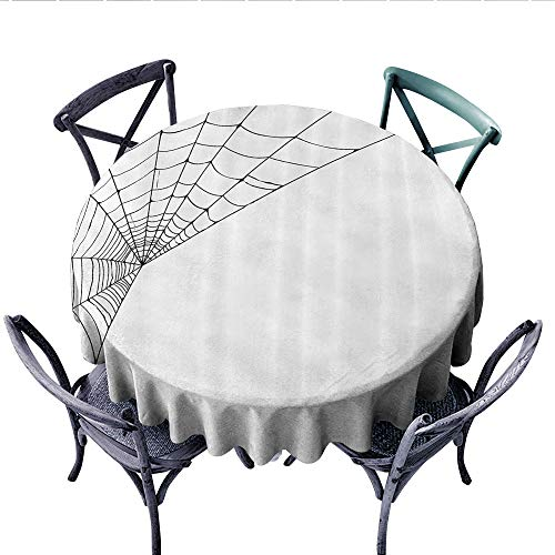 Modern Washable Tablecloth Spider Web Icon Background Abstract Form Halloween Scary Evil Themed Illustration Table Cover for Kitchen (Round, 50 Inch, Black White)]()