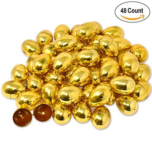48 Shiny Metallic Gold Easter Eggs for Kids Boys Girls 2.25