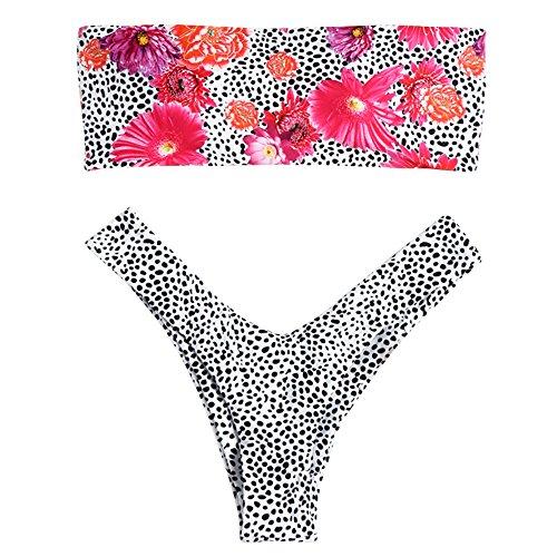 CharMma Women's Strapless Leopard Print High Cut Two Piece Bandeau Bikini Set (Colormix 1, (1 Piece Bandeau Swimsuit)