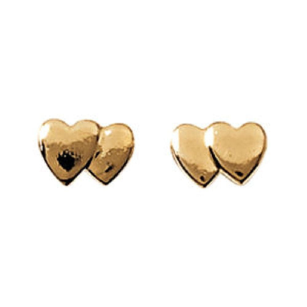 18k Gold Plated Double Heart Stud Earrings So Chic Jewels