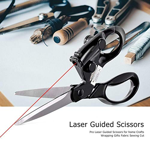 (Professional Laser Guided Scissors for Home Crafts Wrapping Gifts Fabric Sewing Cut Straight Fast with Battery)