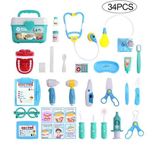 Little Kids Doctor Toy (Balnore Doctor Kit for Kids 34 Pieces Pretend Play Dentist Toy Medical Kit Easter Stuffers and Doctor Role Play Educational Toy for Kids, Costume Dress-Up Classroom,Party)