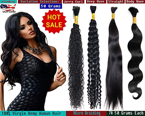 eCowboy DIAMOND Grade Bulk Hair for Micro Braiding 100% Virgin REMY Hair Can be Dyed Bleached ABSORBS Color Well Straight great deal 4 bundles pack, 50 Grams/bundle Natural Black 20""