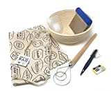 7-Piece Bread Baking Set: Round Banneton Rattan Bread Rising Basket 8 Inch, Mure & Peyrot Bread Scoring Lame, 10-pk Replacement Blades, Dough Cutter, Scraper, Danish Dough Whisk, Bread Bag – Bundle