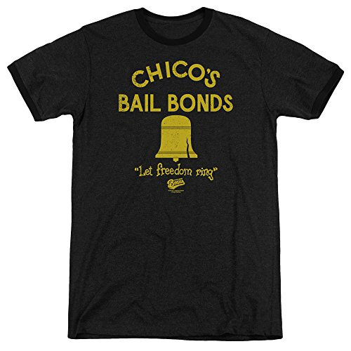 Bad News Bears Chico'S Bail Bonds Mens Adult Heather Ringer Shirt Black Xl