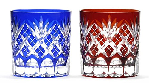 Japanese Edo-Kiriko (Cut Glass) Old Pair 9.3oz, Kenyarai-kasane Pattern,Red & Blue by KIMOTO GLASSWARE