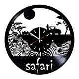 Africa Safari Animals Handmade Vinyl Record Wall Clock - Home room wall decor - Gift ideas for mother and father, teens - Unique Art Design