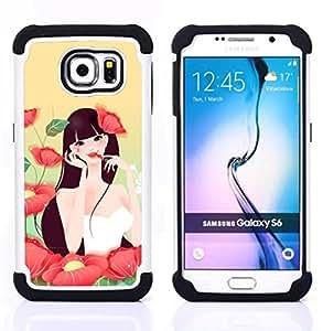 BullDog Case - FOR/Samsung Galaxy S6 G9200 / - / Girl In Flowers /- H??brido Heavy Duty caja del tel??fono protector din??mico - silicona suave