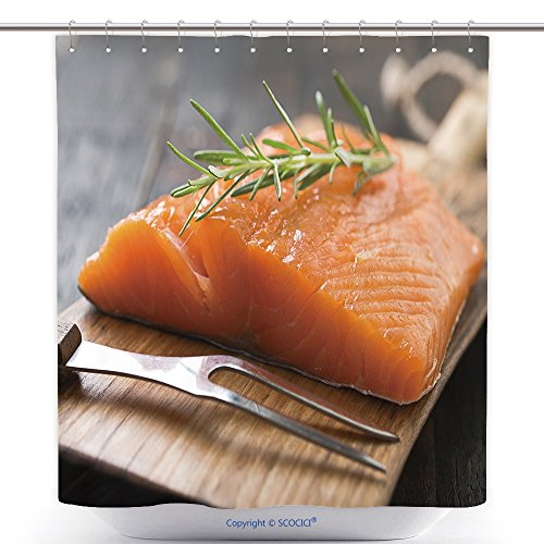 vanfan-Polyester Shower Curtains Smoked Salmon On Wooden Board Polyester Bathroom Shower Curtain Set Hooks(54 x 78 inches)
