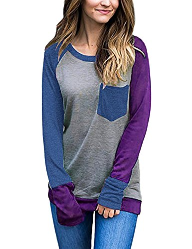 EMVANV Baseball Clothes for Women, Juniors Long Sleeve Patchwork Scoop Neck Pullover,Blue-Purple S